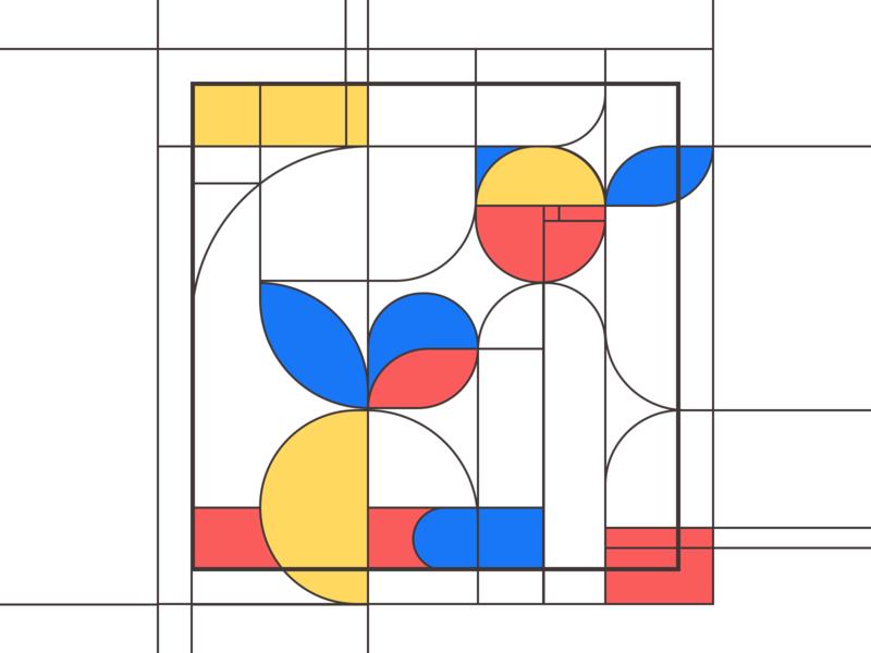 Mondrian Windows gallery layout illustration flat mondrian