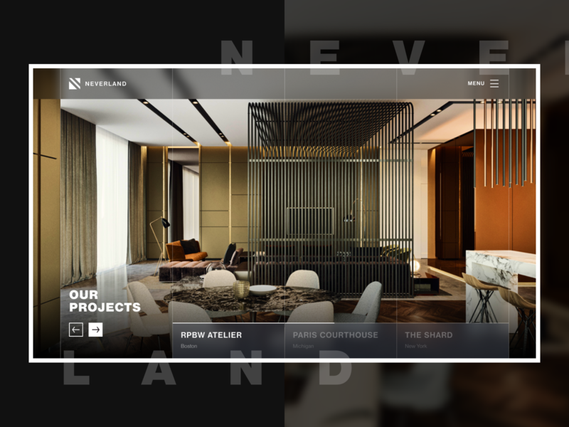 Neverland architecture website landing page real estate architecture home ui design flat