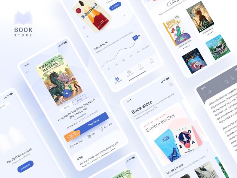 Book app mobile buy home ux ebook icon app illustration ui design