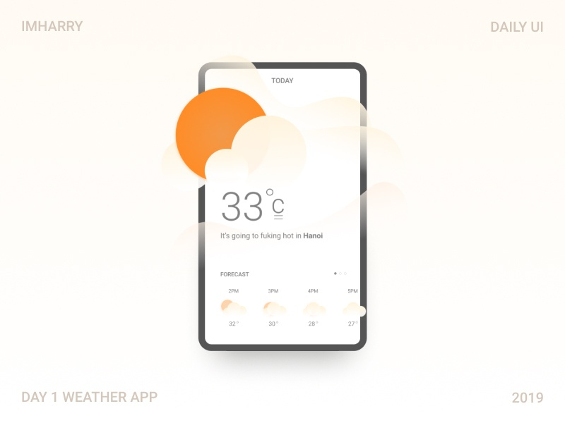 FREE DOWNLOAD!!!  Daily ui 1: weather forecast mobile design. icon weather ui flat app ux vector design illustration