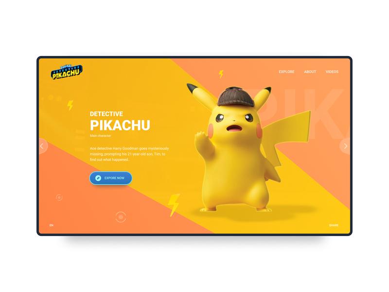 Daily UI 2: Detective Pikachu landing page pikachu pokemon web vector ui flat design