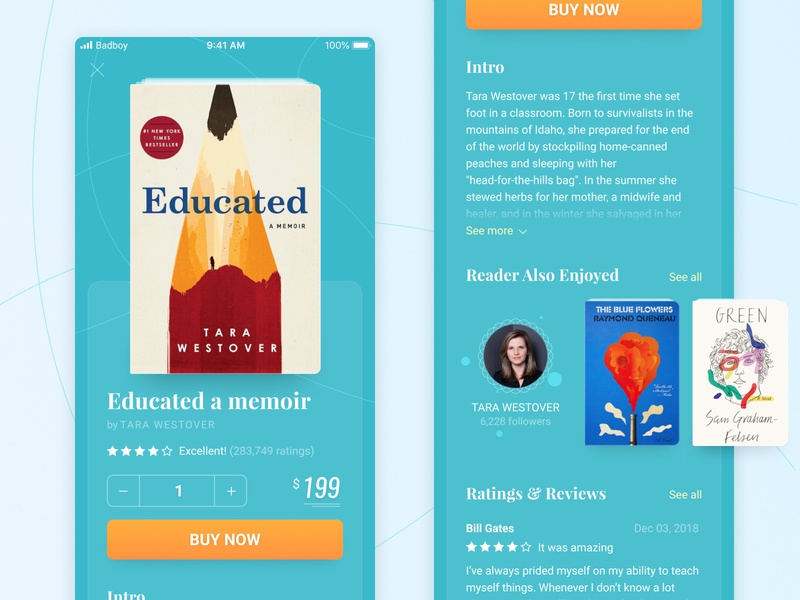 Ebook mobile app design review button buy read purchase ecommerce mobile app ebook flat design