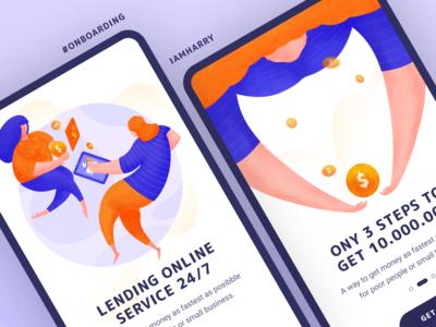 Onboarding Lending App mobile ui lending illustration ui app flat icon design onboarding screen