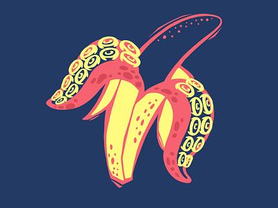 That's bananas digital illustration tenctacle octopus banana procreate illustration