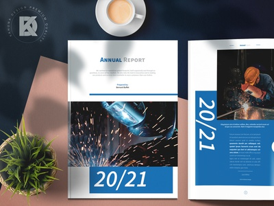 Annual Report Indesign Project 2021 2020 industry production corporate ready print kahuna brand agency letter a4 blue identity layout company indesign brochure report annual
