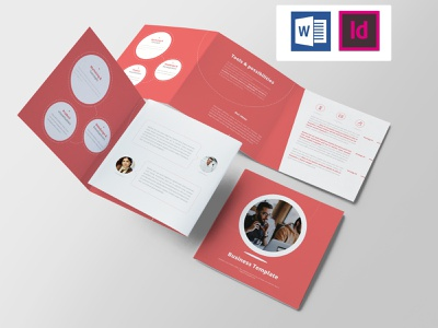 Business Template word template stationary report red professional invoice infographics doc corporate clean business living coral agency square