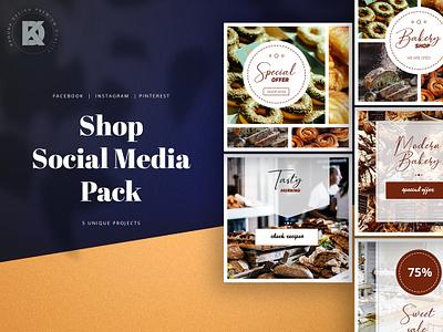 Bakery Shop Social Media Pack grocery cake studio banner pack business kahuna blog pinterest facebook instagram shop bakery elegant trendy