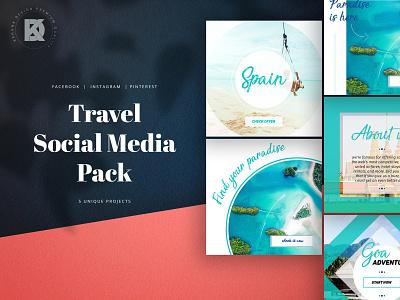 Travel Social Media Pack studio banner pack business kahuna blog pinterest facebook instagram shop elegant trendy vietnam thailand ship plane agency journey travel