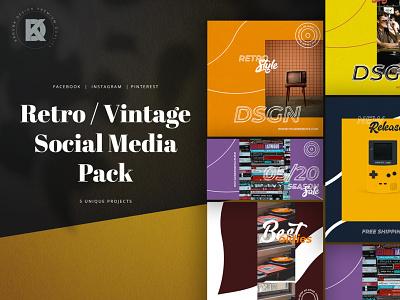 Retro / Vintage Social Media Pack style streetwear media social socialmedia blog cover post banner pinterest facebook instagram 90s 80s old vintage retro