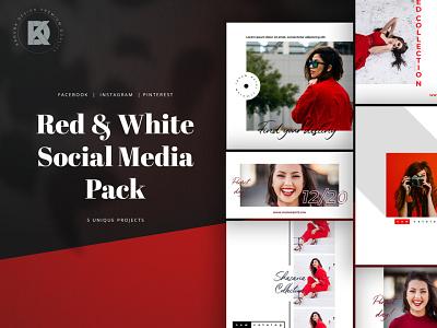 Red & White Social Media Pack socialmedia kit pack media social cover banner post blog pinterest facebook instagram feminine woman white red