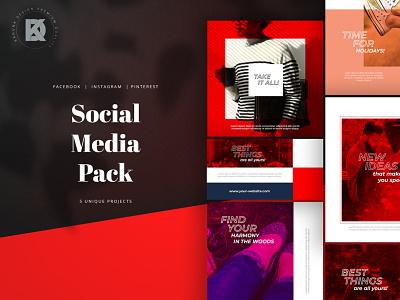Social Media Pack marble kahuna multipurpose elegant delicate post cover banner pinterest facebook instagram stories universal pack media social