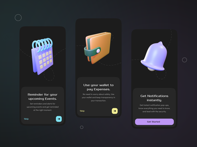 App Onboarding screens (Dark Mode) dribbble motion graphics 3d animation ui art vector illustration branding icon illustrator clean design