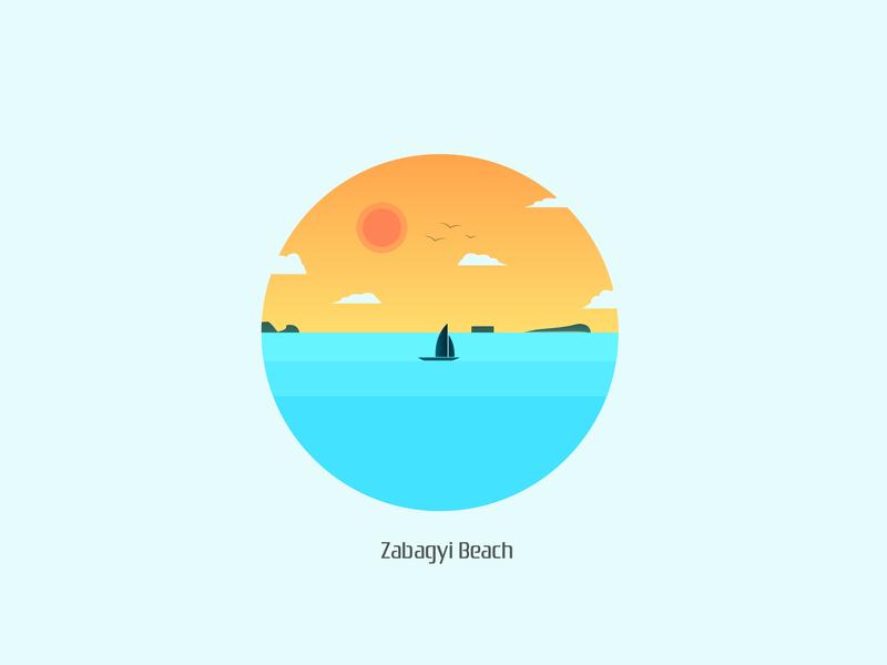Zabagyi Beach illustration vector