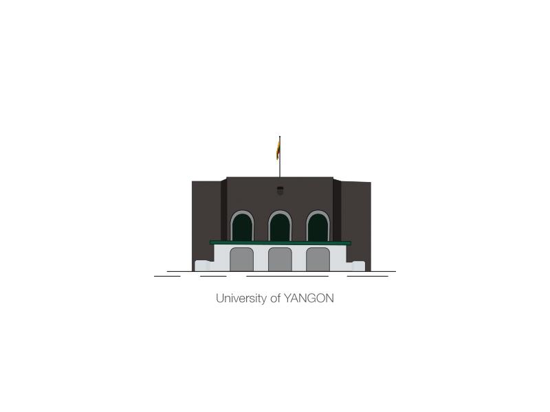 University Of Yangon animation design vector illustration
