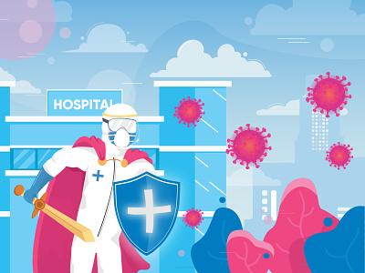 Super Hero covid19 hospital nurse doctor clean gradient hero exploration design landing page header vector illustration