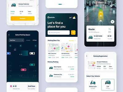 PARKIRIN - Parking Mobile Apps app hero landing page hiring uiux parkingapps parking apps mobileapps branding ui clean header exploration design