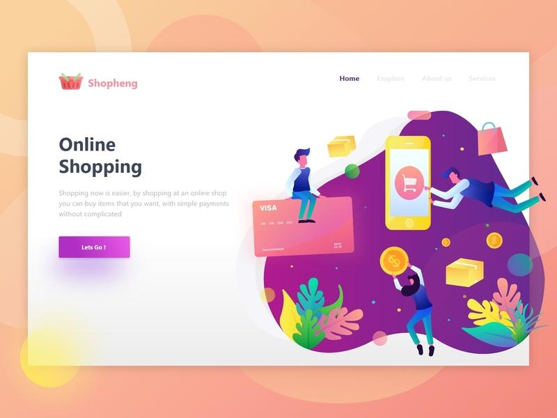 Shopping - Online Shop Header Illustration gradient header landing page dollar payment online shop website vector illustration