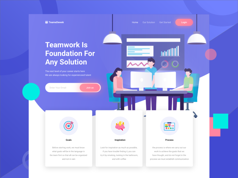 TeameDewek - Landing Page Exploration icon ux coworking space hero teamwork exploration typography design clean website gradient ui vector landing page header illustration