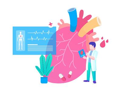 Heart Checkup Illustration heart checkup heart illustration checkup heart exploration design clean gradient vector illustration