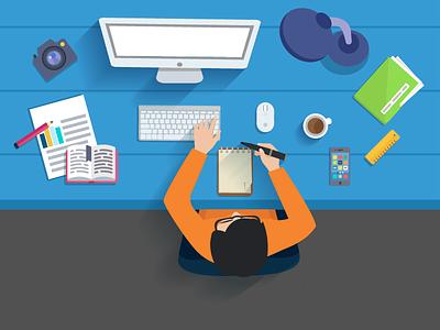 Working With Creativity landing page hero exploration design header vector illustration