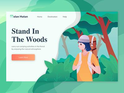Exploration - Dolan Hutan clean ui website exploration gradient design landing page header vector illustration