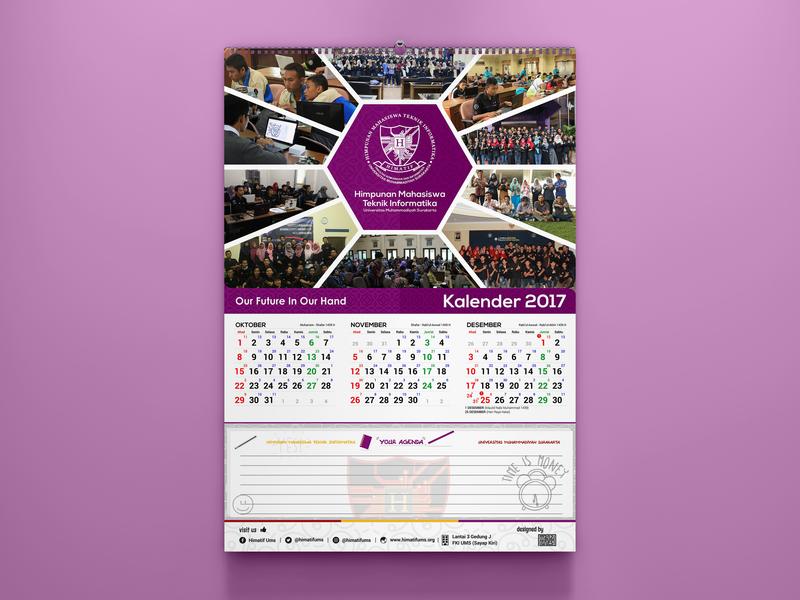 Calendar Design purple a4 size colorful himatif ums vector graphic design print design calendar design calendar