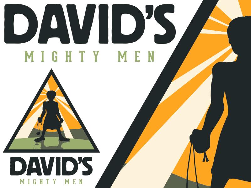 David's Mighty Men logo design graphics david goliath