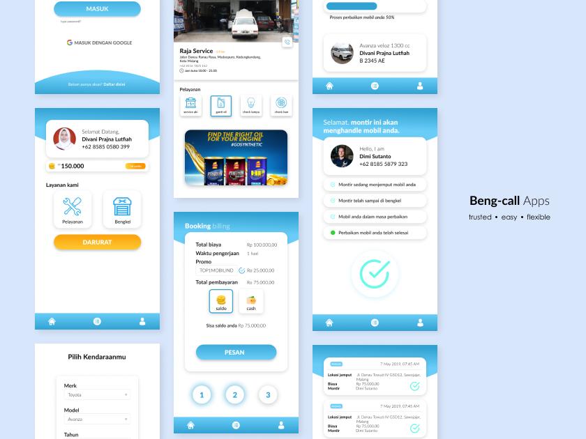Beng-call Apps app ui design