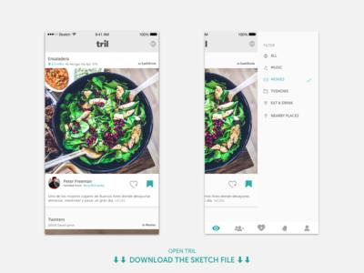 Tril | Timeline download sketch file tril app social mobile timeline ios ui