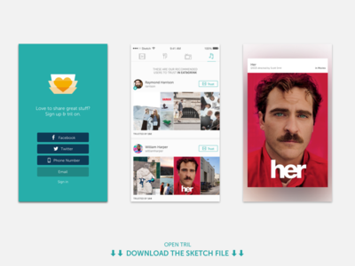 Tril | Onboarding signup ui tril onboarding social file sketch mobile ios download app
