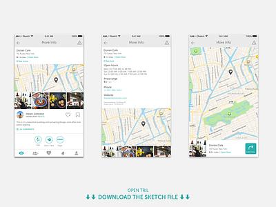 Tril | More info restaurant ui tril sketch post more info map mobile ios file download app