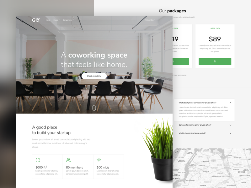 GO - Coworking Landing Page html bootstrap landing page design office clean minimal layout landing page coworking space coworking