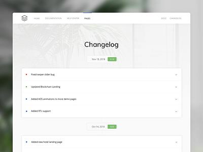 Changelog layout premium bootstrap template minimal clean accordion docs changelog documentation