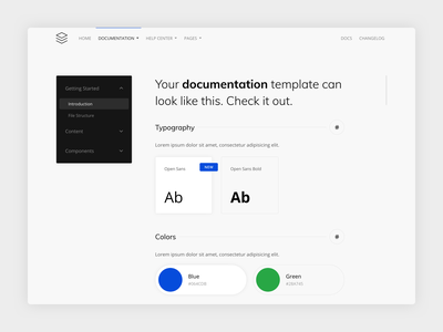 Guidebook - Documentation Layout template minimal guidebook documentation template clean design system design guide bootstrap guide layout docs documentation