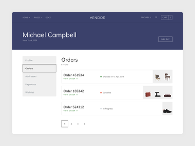 Profile Page - Orders pagination typography bootstrap clean minimal profile orders shopify template ecommerce shop vendor