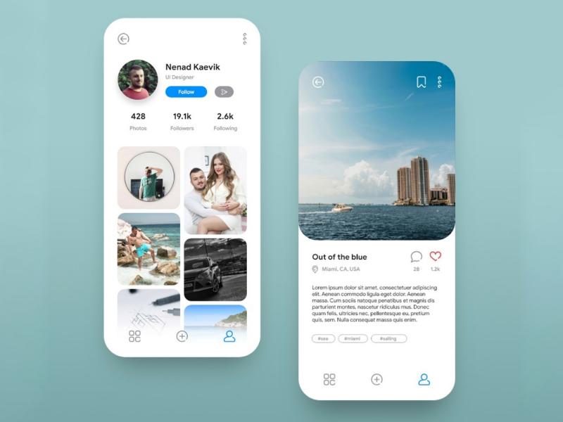 Instagram UI Concept curves sleek minimal modern concept design user interface ui instagram