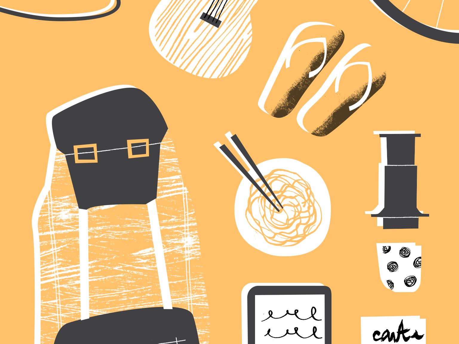 10 Objets I Used Backpacking photoshop analog travel illustration illustrator