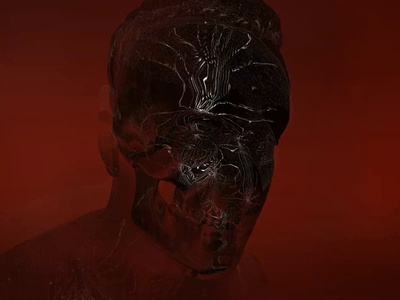 Against The King plastic waves scull noise render c4d cinema4d aftereffects face artwork movie creep red dark man head glitch audiovisual motion design generative