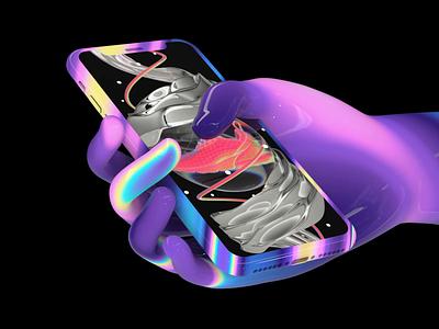 Maverick hand cryptoart nftart nft futuristic loop motiondesign animation motiongraphics mavfarm render psychedelic trippy acid screen mobile silver nike iridescent hand cinema4d