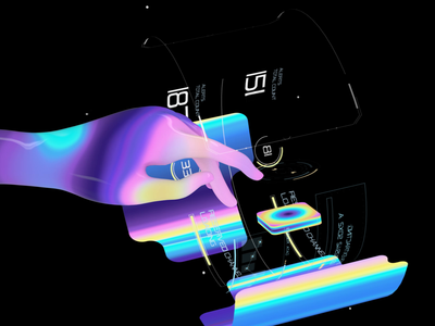 Mavfarm Dashboard motiongraphic motion design animation c4d reflection finger hologram holographic circle numbers counter elements hud cinema4d ui button rainbow iridescence iridescent hand