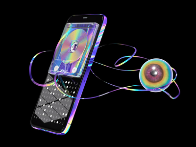 SmartTape cryptoart nftart nft spin square render cinema4d 3d motiongraphics animation loop psychedelic trippy eye iphone smartphone iridescent acid oldschool tape