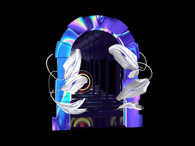 Portal cryptoart nft nftart iridescence iridescent plants leafs psychedelic trippy acid motiongraphic animation video sphere tunnel door gate portal cinema4d