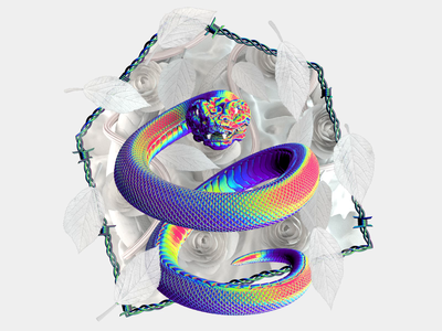 Create Style cryptoart nft nftart barbed wire pattern monochrome flower illustration pearl wire leafs psychedelic acid motiongraphics animation cinema4d render rose iridescent snake