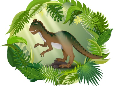A long time ago, somewhere in the jungle jungle animal dinosaur flat logo vector design illustration characterdesign character