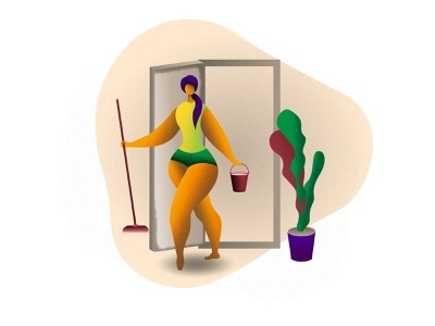 Housewife home purity cleaning housewife vector flat characterdesign character illustration design