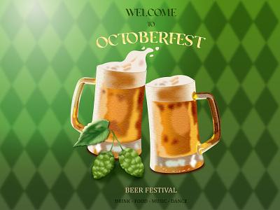 Beer mugs Octoberfest poster design illustration vector graphic design carnival glass leaves hop bubbles foam treats celebration fun joy happy holiday festival mug octoberfest beer