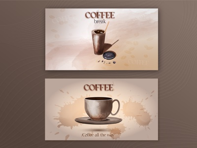Banner template with coffee concept watercolor illustration rich paper cup template banner watercolor coffee