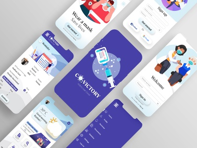CoVictory - COVID Vaccination Application Mockup trending pharmacy app medical app interior design web design ux ui branding website design and development illustration graphic designer graphic design creative designs design creativity creative design vaccination covid19 application design dailyui