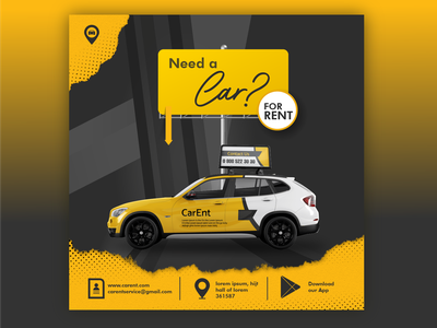 CarEnt - Car Rental Banner Mockup app application design web design website designer creative designs creative designer branding illustration ux ui design graphic design graphic designer mock up rental app travel app car mockup website design and development dailyui