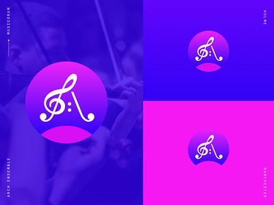 Arch Ensemble music typography design minimal brand identity logo logomark branding